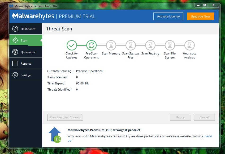 Malwarebytes Anti-Malware Start to Scan your full system
