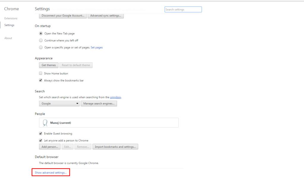 Chrome Reset Settings button