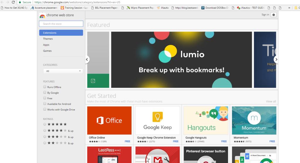 Google Chrome web store page