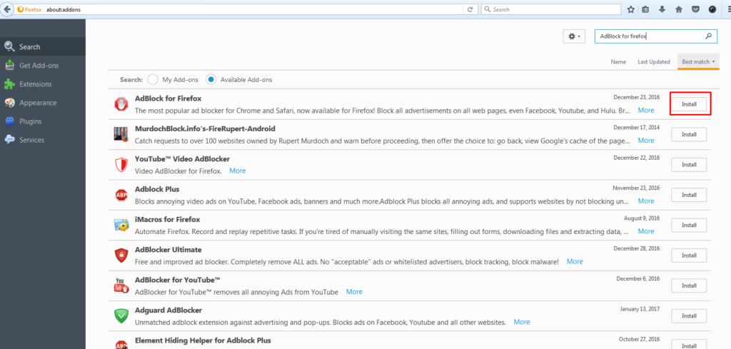 Install AdBlock for Firefox Extension