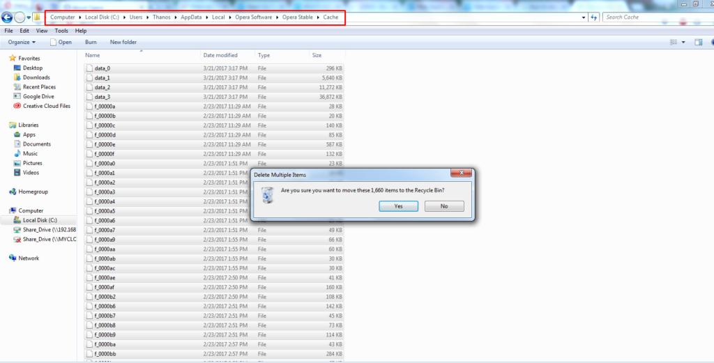 TO remove Opera Mini browser cache path files