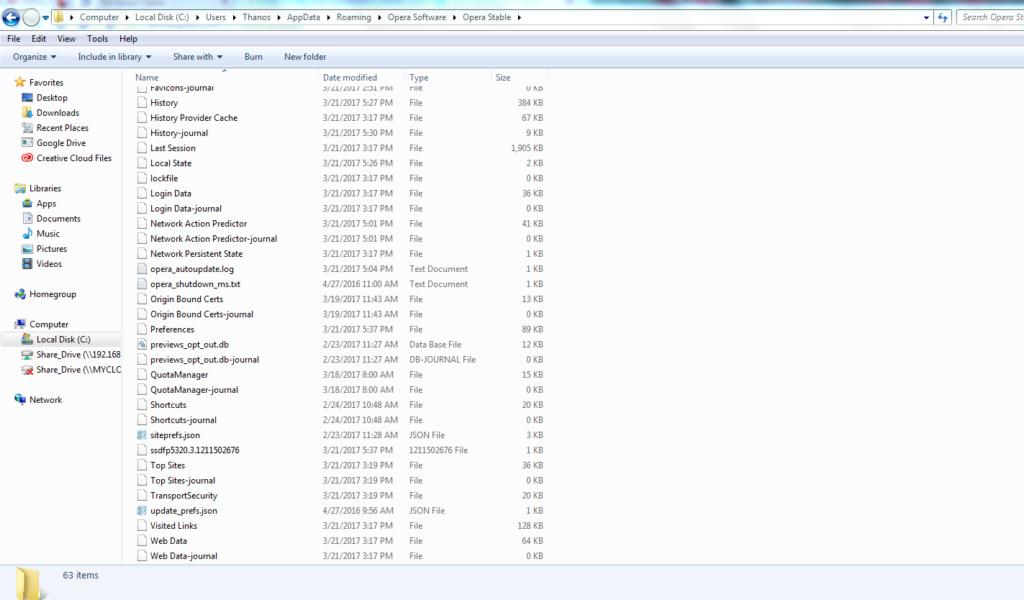 Opera Mini browser cache path file System location