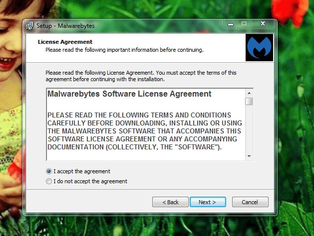 Malwarebytes Anti-Malware Installation Setup