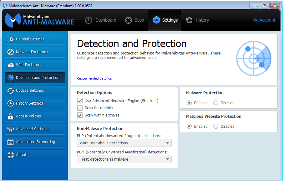 Malwarebytes Anti-malware is one of best malware removal tool