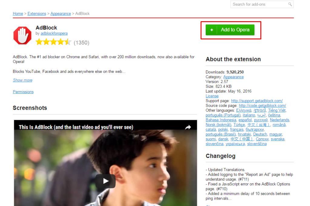 click Add to opera button in AdBlock extension