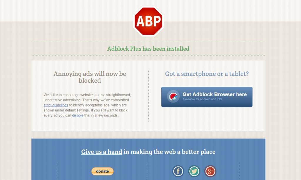 adblock plus has been installed
