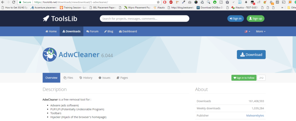 AdwCleaner downloaded links https://toolslib.net/downloads/viewdownload/1-adwcleaner/ http://filehippo.com/download_adwcleaner/