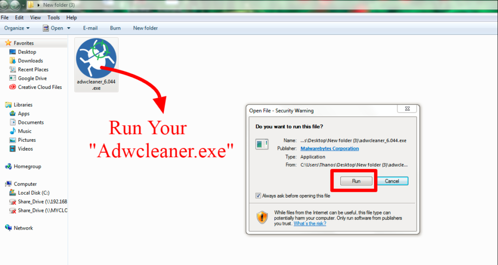 run your adwcleaner.exe - remove ads, pop-ups, malware and adware