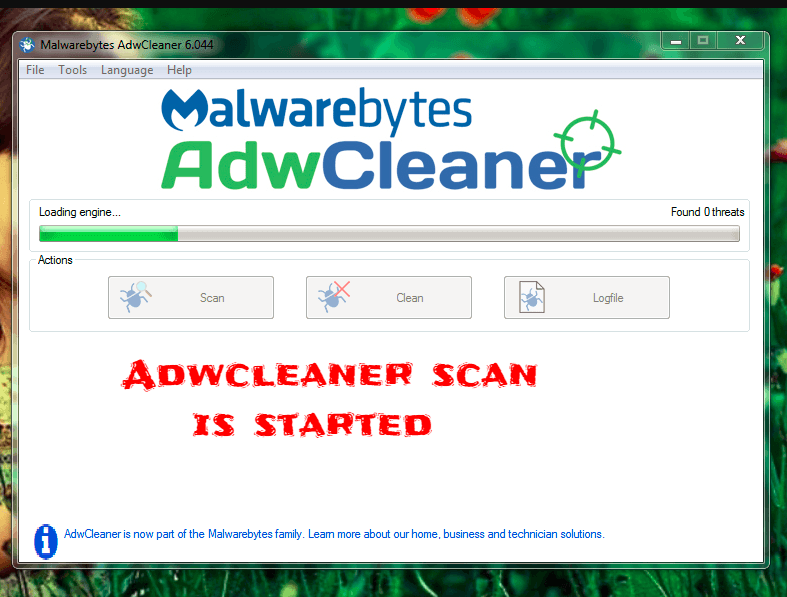 adwcleaner scanning process is started