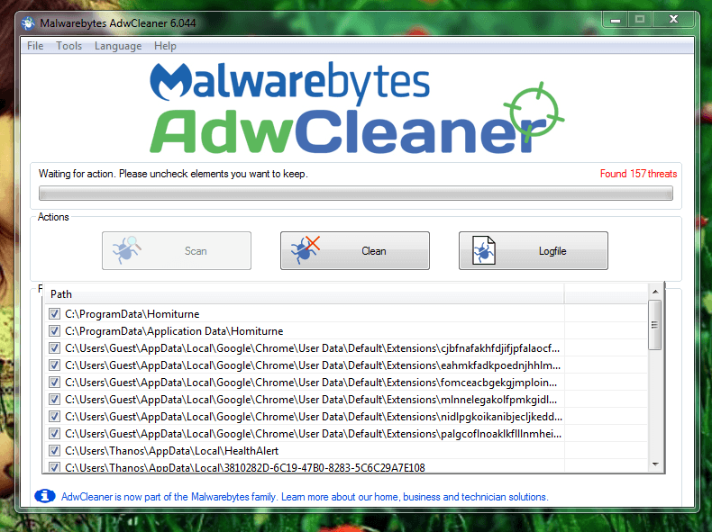 AdwCleaner shows scan results on your system