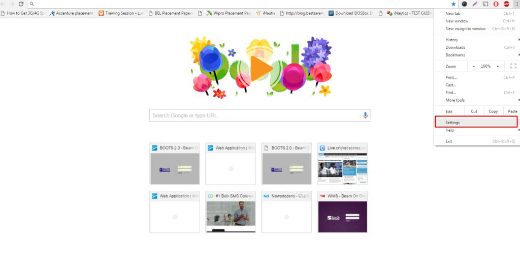 Google Chrome Reset Settings option