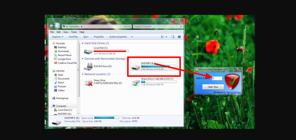 Put into drive letter on shortcut virus remover