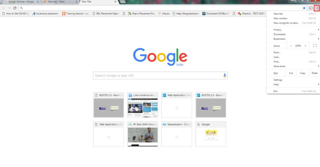 click on customize and control google chrome menu bar