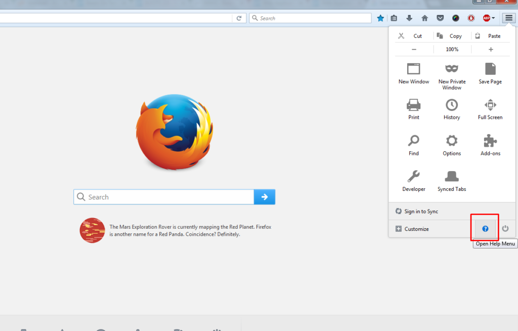 Click Help link on Mozilla Firefox