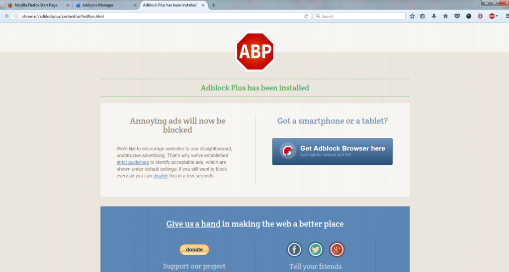Click Install AdBlock Plus on Mozilla Firefox browser