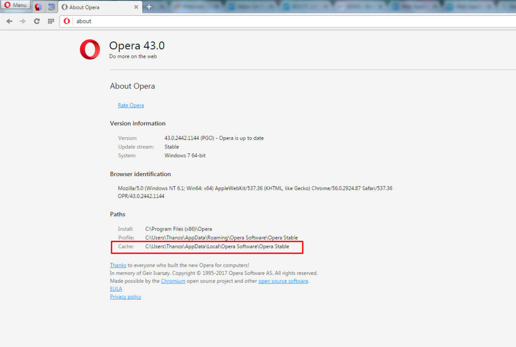 Noted that Opera Mini browser cache path
