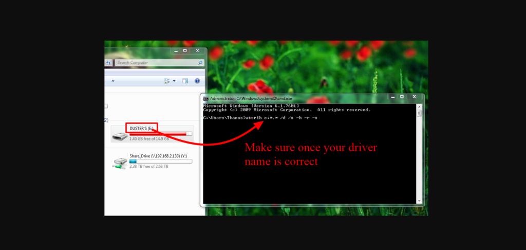 select drive name then type code for command prompt