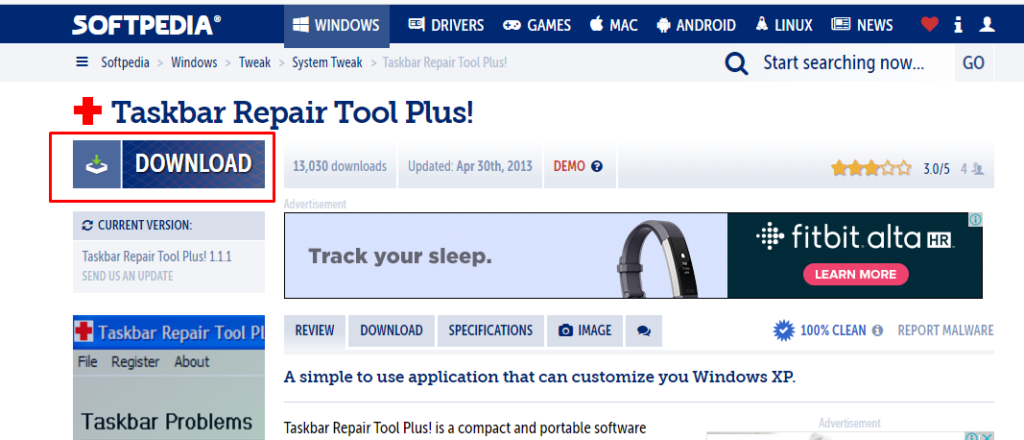 To download software Taskbar repair tool plus