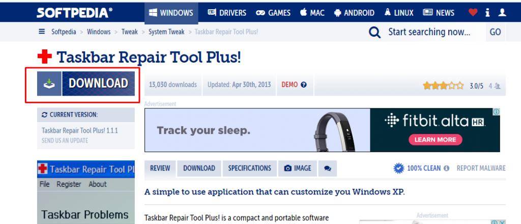 To download software Taskbar repair tool plus