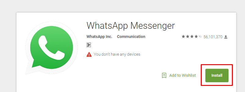 To download and install whatsapp application