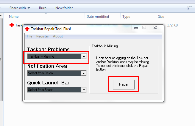 Select taskbar is missing-repair option afterwards to click repair button