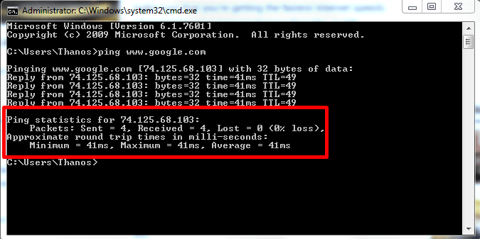 test your internet speed using command prompt