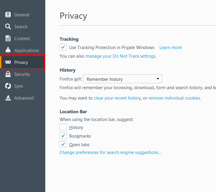 Click the privacy button on Mozilla Firefox Browser