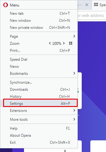 Menu bar in Opera Mini web browser