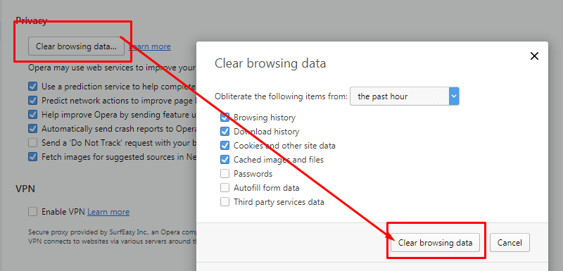 """history and browsing data can clear using """"Clear browsing data"""" option."""