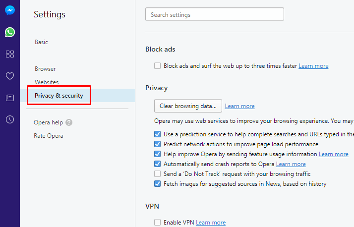 Opera Mini Privacy and security option