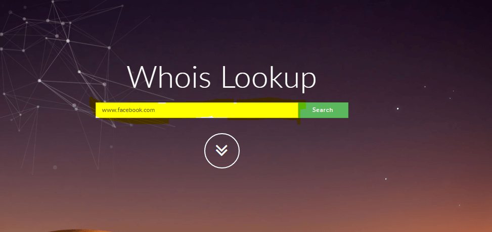 To search domain in who is lookup