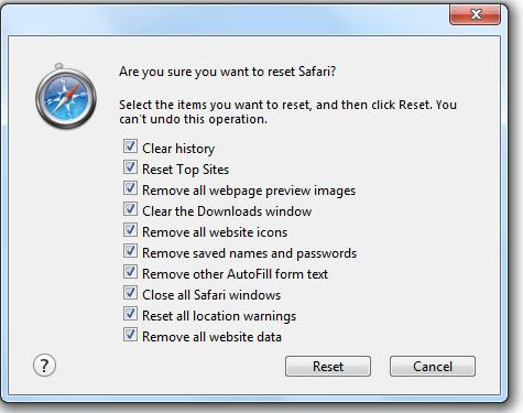 To reset safari using reset button