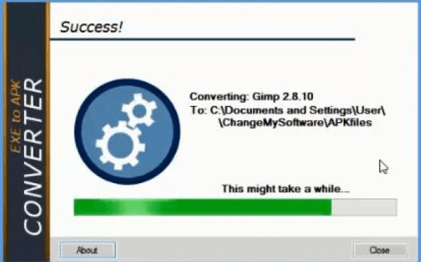 files converted into exe to apk