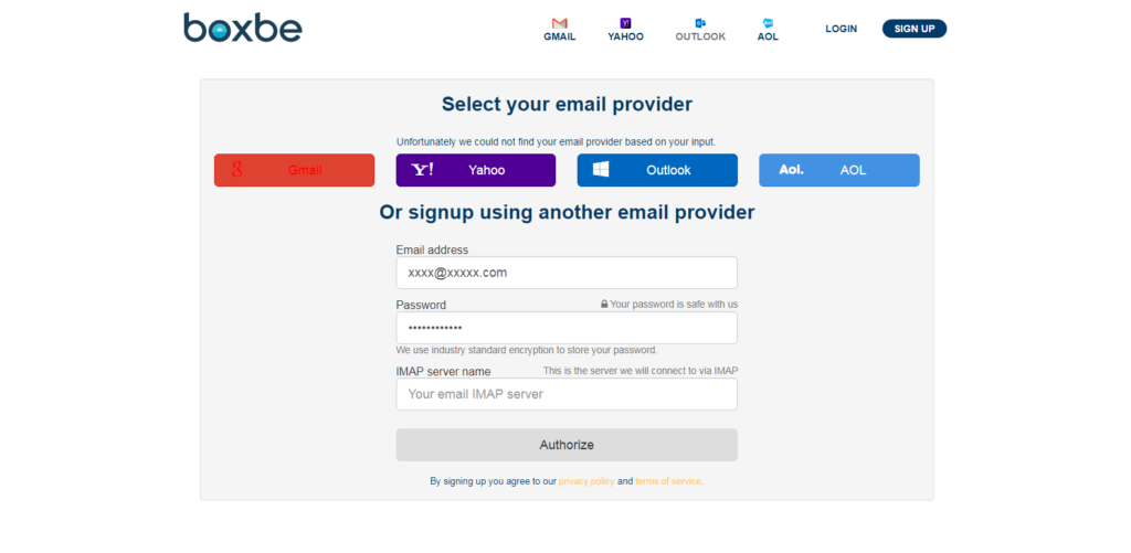 Boxbe Authorize other third-party domain name email providers