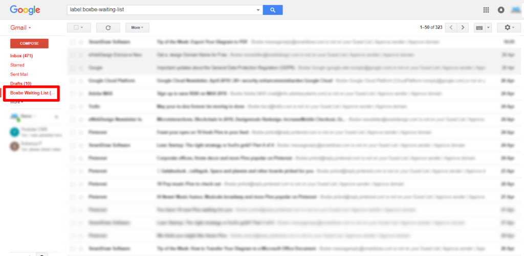 Boxbe Waiting List folder/label in gmail account