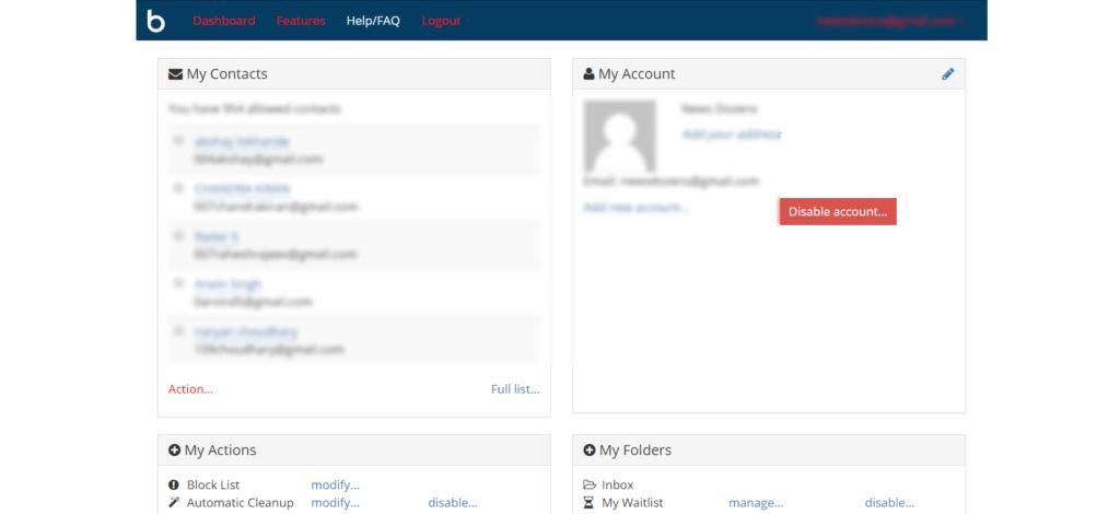 Boxbe user Dashboard page