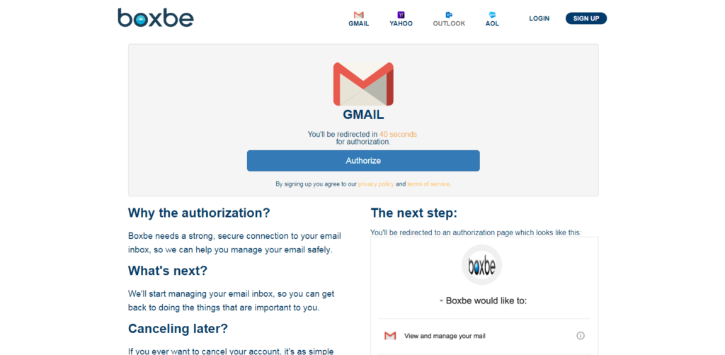 Authorize Boxbe in Gmail account
