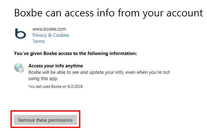 To remove Boxbe access account from outlook or hotmail
