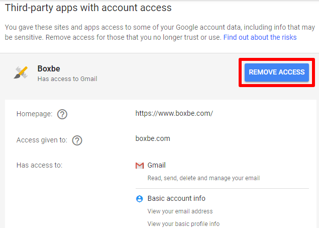 Boxbe disconnect with google mail using remove access button