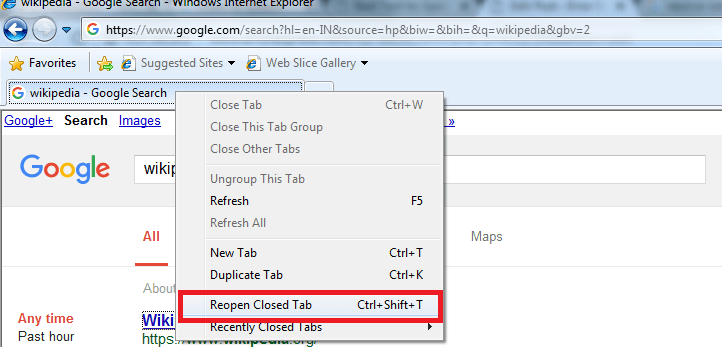 Choose reopen closed tab option helps to recover accidentally closed tabs